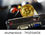 bitcoin on a computer graphic... | Shutterstock . vector #741016426