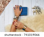 female hands with jewelry.... | Shutterstock . vector #741019066