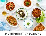 traditional turkish meze table... | Shutterstock . vector #741020842
