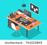 flat isometric 3d technology... | Shutterstock .eps vector #741023845