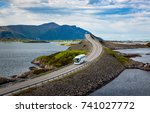 tourist bus traveling on the... | Shutterstock . vector #741027772