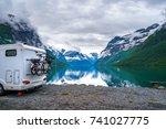 family vacation travel rv ... | Shutterstock . vector #741027775