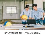 young asian engineers couple... | Shutterstock . vector #741031582