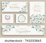 set of flower wedding ornament... | Shutterstock .eps vector #741033865