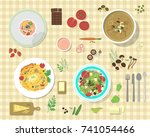 different plates with pasta... | Shutterstock .eps vector #741054466