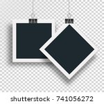 vector two photo frame clamped... | Shutterstock .eps vector #741056272