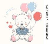 cute bear with balloons cartoon ... | Shutterstock .eps vector #741058498