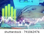 business man digital financial... | Shutterstock . vector #741062476