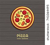 pizza top view vector... | Shutterstock .eps vector #741064495