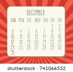 december 2017 vector calendar... | Shutterstock .eps vector #741066532