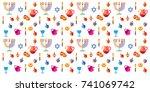 jewish holiday hanukkah... | Shutterstock .eps vector #741069742