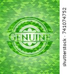 genuine green emblem with... | Shutterstock .eps vector #741074752