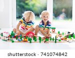 kids play with toy train... | Shutterstock . vector #741074842