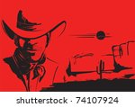 Portrait Of Cowboy On Red...