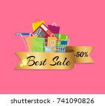 best sale 50   off banner with...   Shutterstock .eps vector #741090826