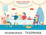 merry christmas and happy new... | Shutterstock .eps vector #741096466