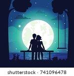 romantic couple sitting on...   Shutterstock .eps vector #741096478