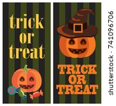 trick or treat sign on... | Shutterstock .eps vector #741096706