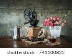 coffee in the morning. still... | Shutterstock . vector #741100825