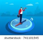 a businessman standing on a...   Shutterstock .eps vector #741101545