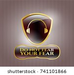 gold shiny emblem with... | Shutterstock .eps vector #741101866