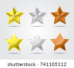 set of star icons. gold  silver ... | Shutterstock .eps vector #741105112