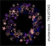 frame of stars. dark starry... | Shutterstock .eps vector #741107242