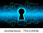 safety concept  closed padlock... | Shutterstock .eps vector #741114436