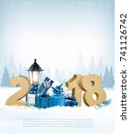 merry christmas background with ... | Shutterstock .eps vector #741126742