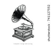 gramophone vintage hand drawing | Shutterstock .eps vector #741127552