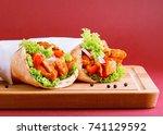 chicken shawarma  | Shutterstock . vector #741129592
