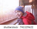 joyful boy in the subway. child ... | Shutterstock . vector #741129622