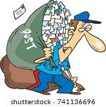 cartoon mail man carrying a... | Shutterstock .eps vector #741136696