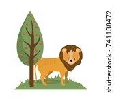 Cute Lion Wild Animal Next To...