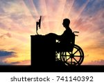 the employee is a disabled man... | Shutterstock . vector #741140392