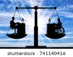 silhouette of a man disabled in ... | Shutterstock . vector #741140416