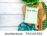 notepad with diet plan list...   Shutterstock . vector #741141532
