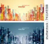 abstract modern  futuristic ... | Shutterstock .eps vector #741145588