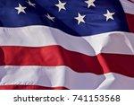u.s. flag closeup   a closeup... | Shutterstock . vector #741153568