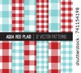 aqua red gingham and checks... | Shutterstock .eps vector #741154198