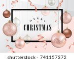 Stock vector christmas design template with christmas balls in rose gold theme 741157372