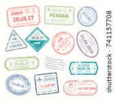visa stamps that put at airport ... | Shutterstock .eps vector #741157708