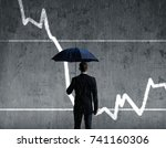 businessman with umbrella... | Shutterstock . vector #741160306