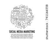 social media marketing circle... | Shutterstock .eps vector #741166558