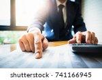 close up business man using... | Shutterstock . vector #741166945
