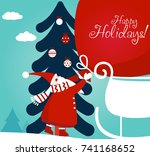 funny santa claus with a bag... | Shutterstock .eps vector #741168652
