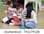 kindergarten boys and girls ... | Shutterstock . vector #741179128