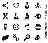 16 vector icon set   molecule ...   Shutterstock .eps vector #741181762