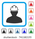 person in hardhat icon. flat... | Shutterstock .eps vector #741182155