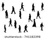 silhouette of people collection ... | Shutterstock . vector #741182398